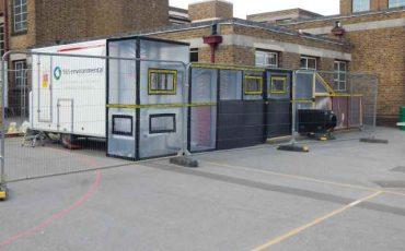 asbestos removal basildon school essex setup in playground